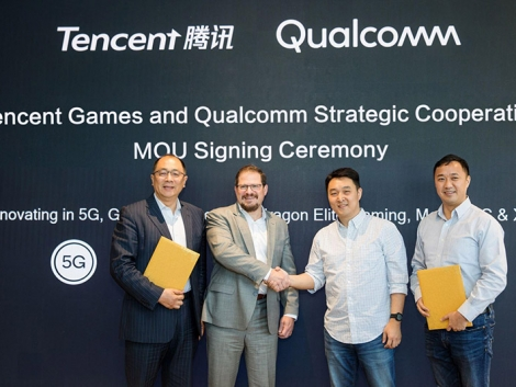 Pictured (left to right): Frank Meng, chairman Qualcomm China, Cristiano Amon, president Qualcomm Technologies, Steven Ma, SVP Tencent, Daniel Wu, GM of Innovation Lab Tencent. Photo Credit: TENCENT GAMES